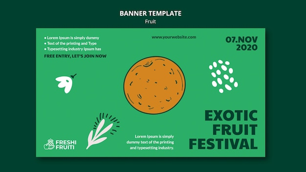 Szablon transparent festiwalu owoców