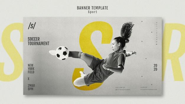 Szablon transparent kobieta piłkarz