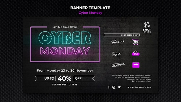 Szablon transparent koncepcja cyber poniedziałek