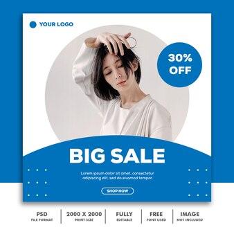 Szablon transparent kwadratowy, kolekcja beautiful girl fashion model niebieski prosty minimalizm