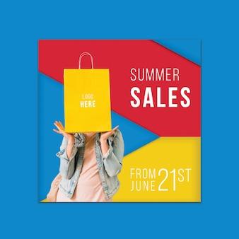 Szablon transparent lato sprzedaży z kolorowe kształty trójkątne