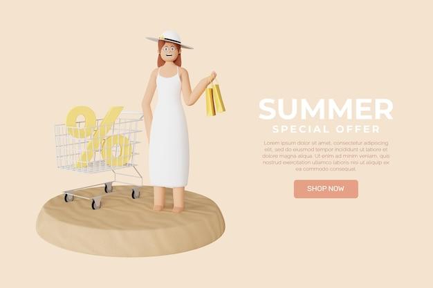 Szablon Transparent Letniej Sprzedaży 3d Premium Psd