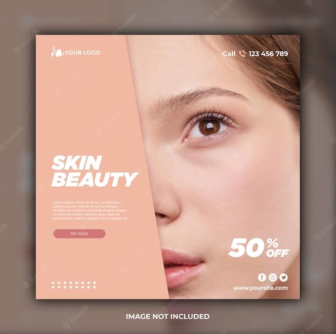 Szablon transparent mediów społecznościowych do pielęgnacji skóry