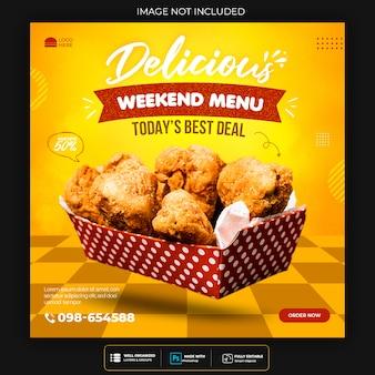 Szablon transparent mediów społecznościowych fast food