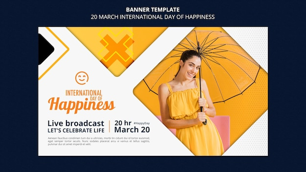 Szablon transparent międzynarodowy dzień szczęścia