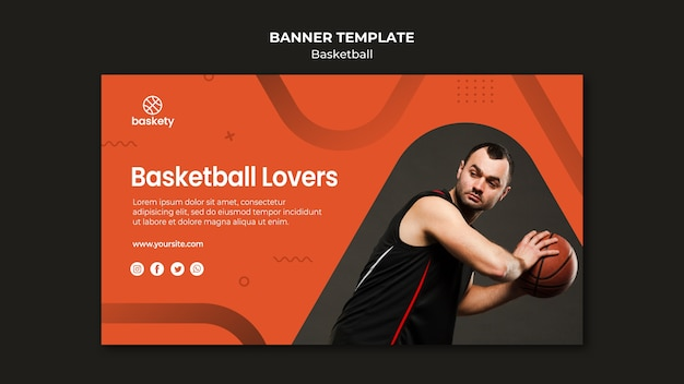 Szablon transparent miłośników koszykówki