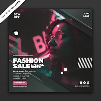 Szablon transparent moda post w mediach społecznościowych