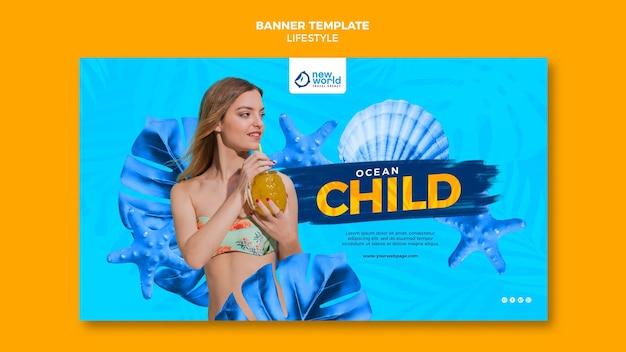 Szablon transparent na letnie wakacje na plaży