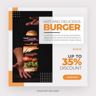Szablon transparent postu na instagramie z menu burger