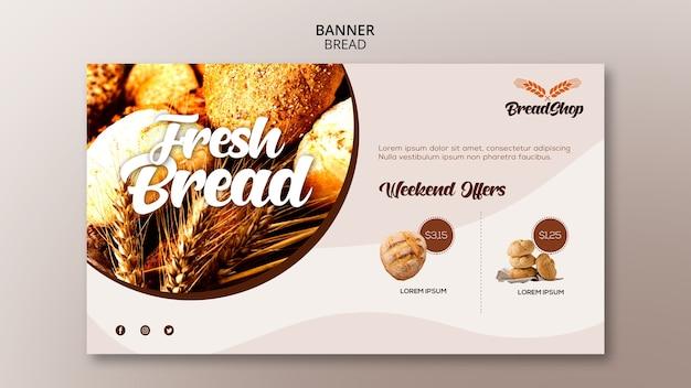 Szablon transparent poziomy baner świeżego chleba