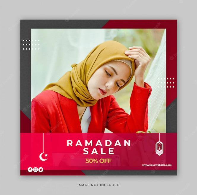 Szablon transparent promocja sprzedaży mody Ramadan dla postu w mediach społecznościowych