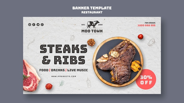 Szablon transparent restauracja stek