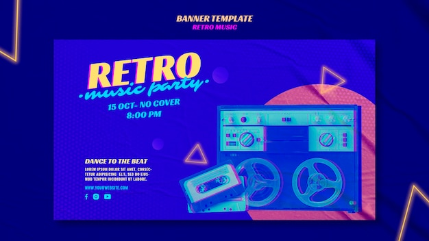 Szablon transparent retro party muzyka
