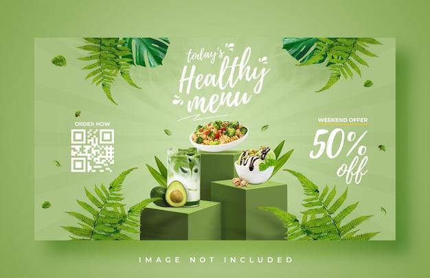 Szablon transparent sieci web promocji zdrowego menu