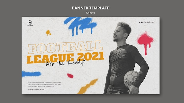 Szablon transparent sport piłki nożnej