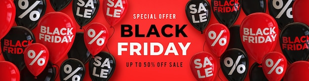 Szablon transparent sprzedaż czarny piątek z czarnymi i czerwonymi błyszczącymi balonami