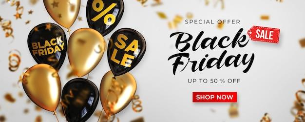 Szablon transparent sprzedaż czarny piątek z czarnymi i złotymi błyszczącymi balonami