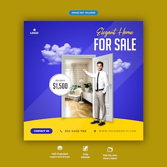 Szablon transparent sprzedaż mediów społecznościowych nieruchomości