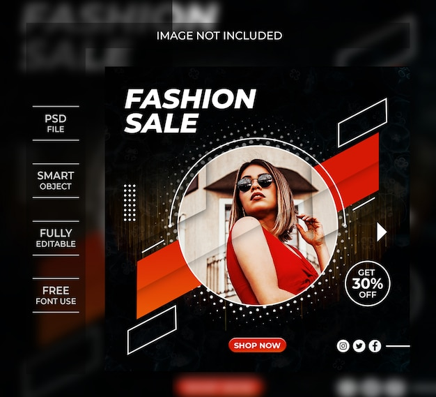 Szablon transparent sprzedaż moda instagram post