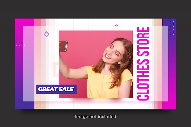 Szablon transparent sprzedaży mody na post w mediach społecznościowych