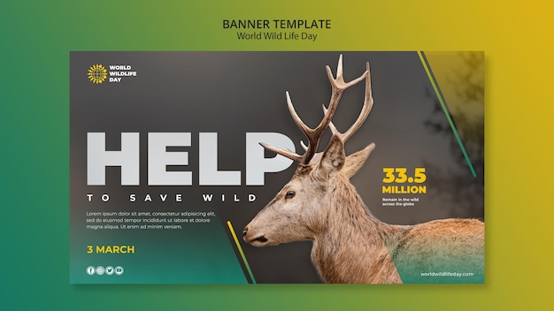 Szablon transparent światowego dnia dzikiego życia