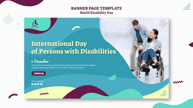 Szablon transparent światowego dnia niepełnosprawności