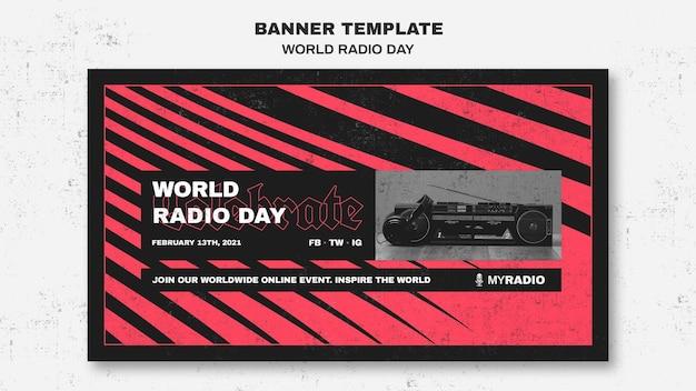 Szablon transparent światowego dnia radia
