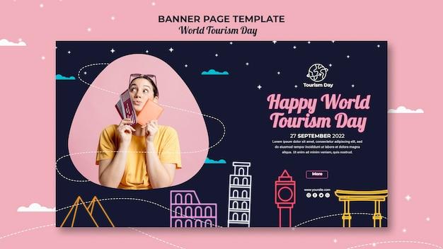 Szablon transparent światowego dnia turystyki