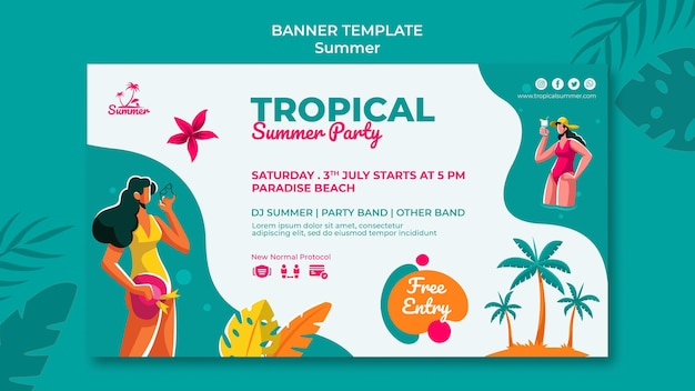 Szablon transparent tropikalne lato party