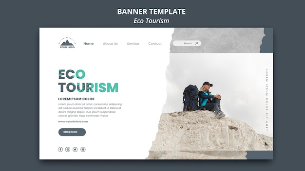 Szablon transparent turystyki ekologicznej