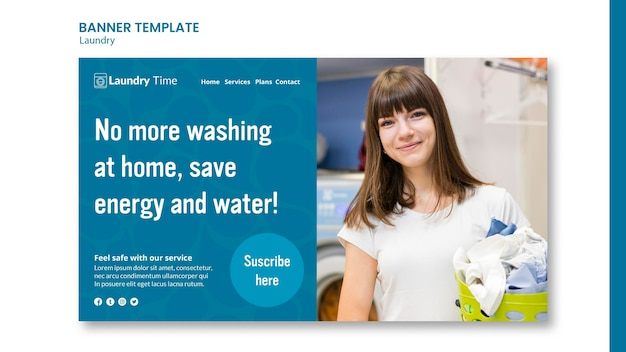 Szablon transparent usługi pralni