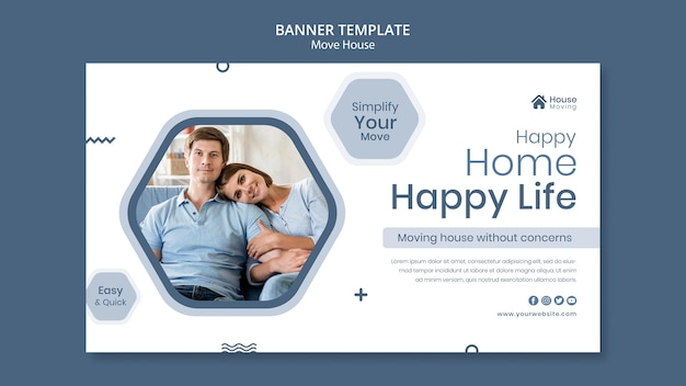 Szablon transparent usługi przeprowadzki domu