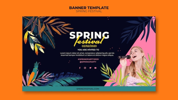 Szablon transparent wiosna kolorowy festiwal