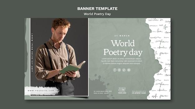 Szablon transparent wydarzenia światowego dnia poezji ze zdjęciem