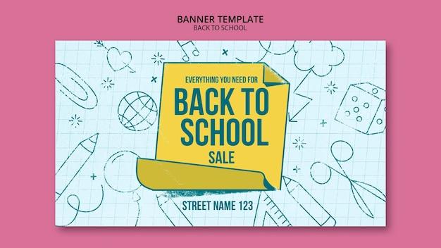Szablon transparent z powrotem do szkoły