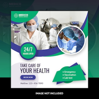 Szablon transparent zdrowia dla mediów społecznościowych