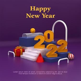 Szablon transparentu 3d szczęśliwego nowego roku 2022