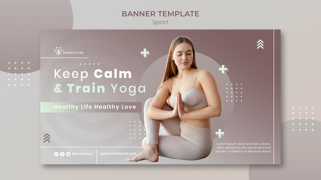 Szablon transparentu ćwiczeń jogi
