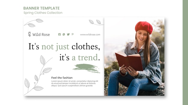 Szablon transparentu kolekcji ubrań wiosennych