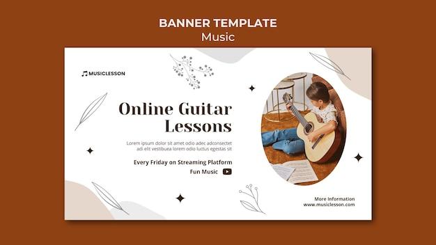 Szablon transparentu lekcji gry na gitarze