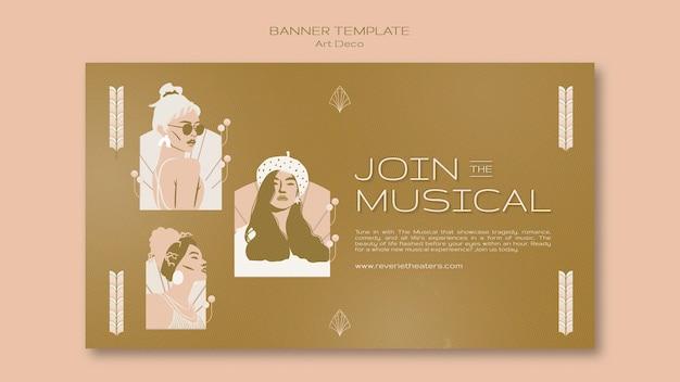 Szablon transparentu muzycznego w stylu art deco
