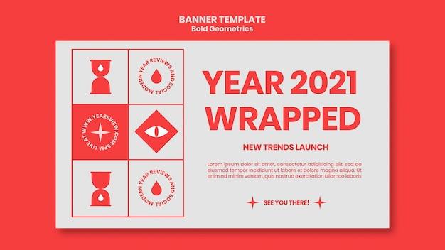 Szablon transparentu na przegląd nowego roku i trendy