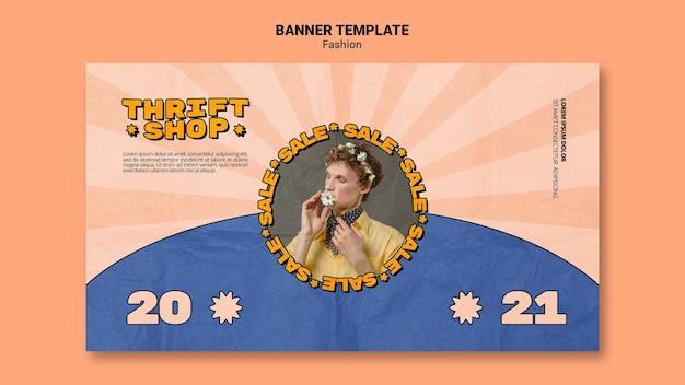 Szablon transparentu na sprzedaż mody w sklepie z używanymi rzeczami