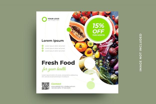 Szablon transparentu postu ekologicznego świeżej żywności