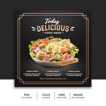 Szablon transparentu postu mediów społecznościowych na pyszne menu żywności luksusowej restauracji