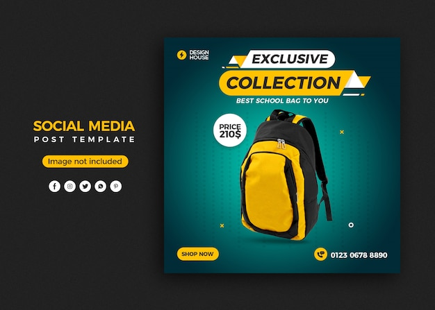 Szablon transparentu postu w mediach społecznościowych do sprzedaży toreb
