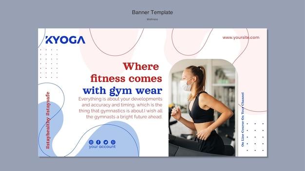 Szablon transparentu poziomego fitness wellness
