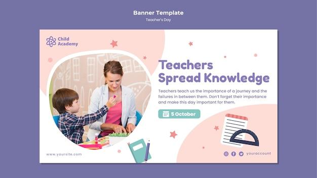Szablon transparentu poziomego na dzień nauczyciela