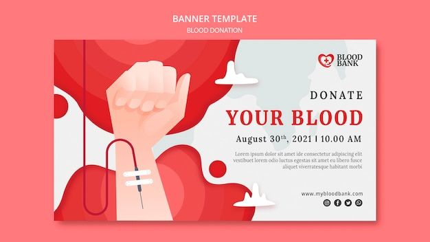 Szablon transparentu poziomego oddawania krwi