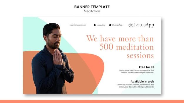 Szablon transparentu poziomego stylu życia medytacji
